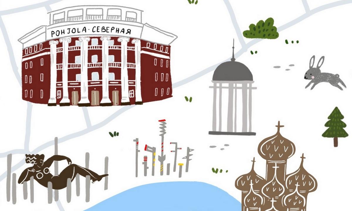 петрозаводск, карта города, рисунок, алена голубева