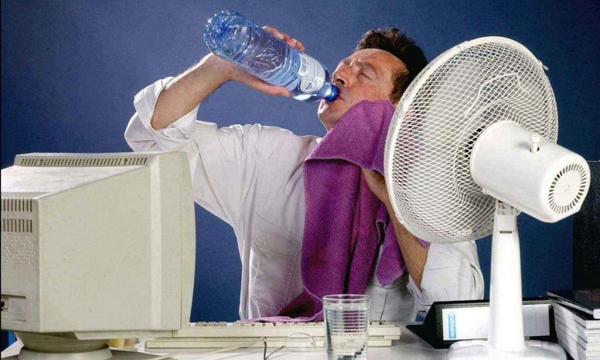 жара, офис, работа