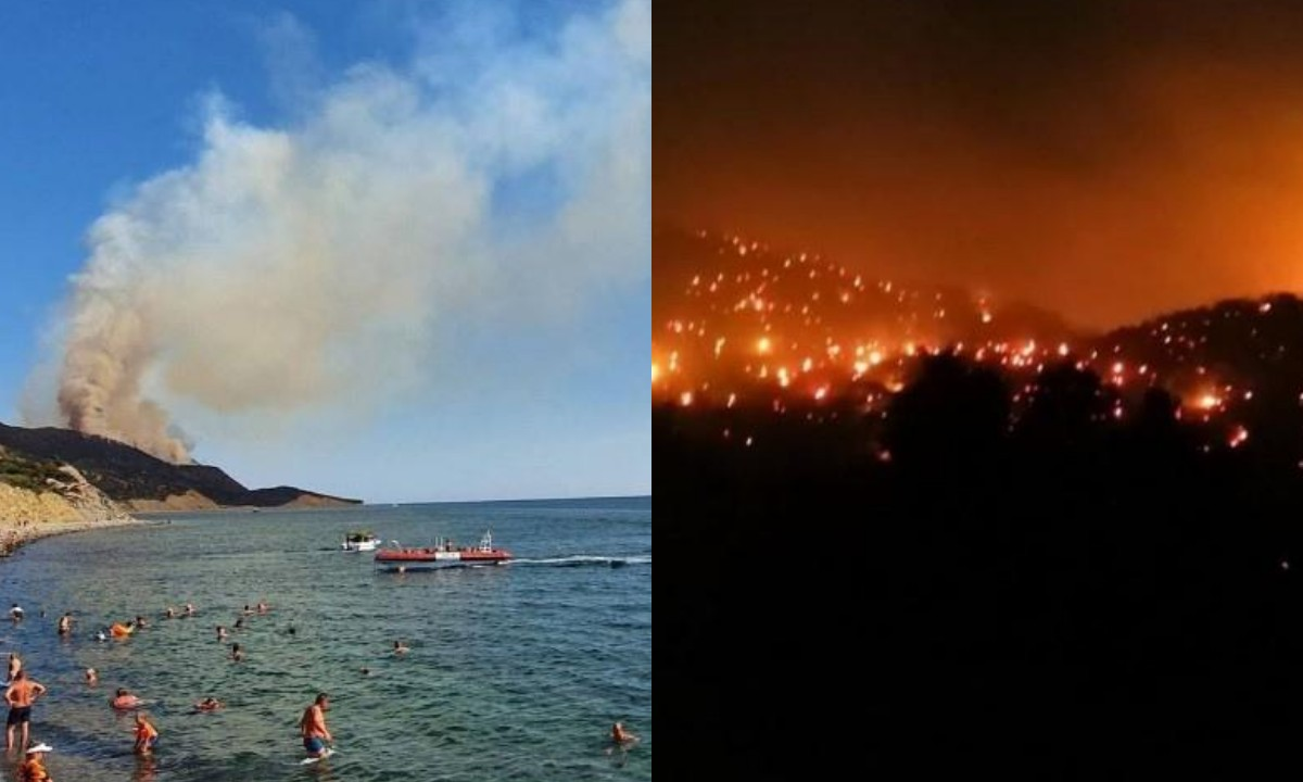 море, пожар