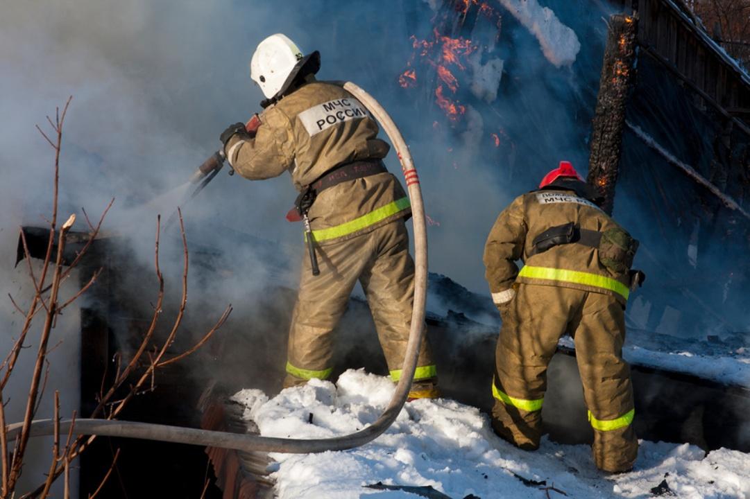 Два сотрудника МЧС России тушат пожар