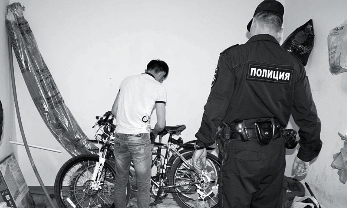 вор велосипедов и полиция