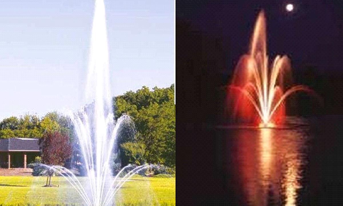Модельное изображение фонтана днем и ночью