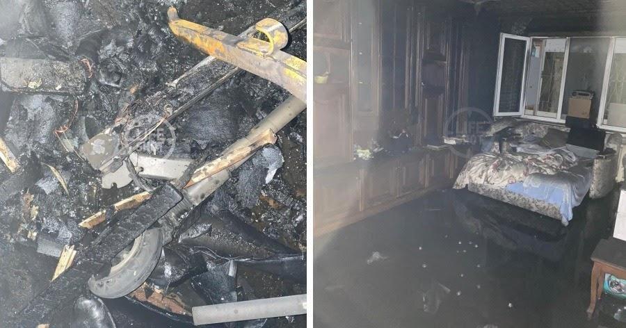 Обгоревшая и обугленная черная квартира