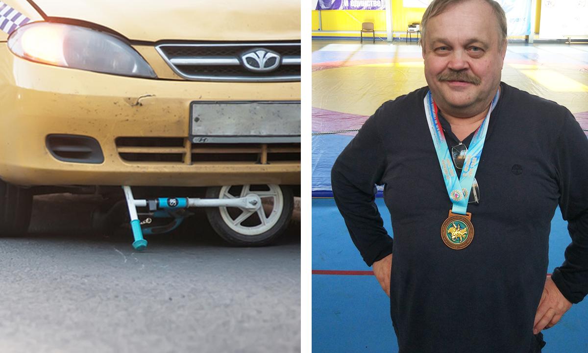 Коллаж: слева авто, переехавшее велосипед, справа - фото тренера Львова