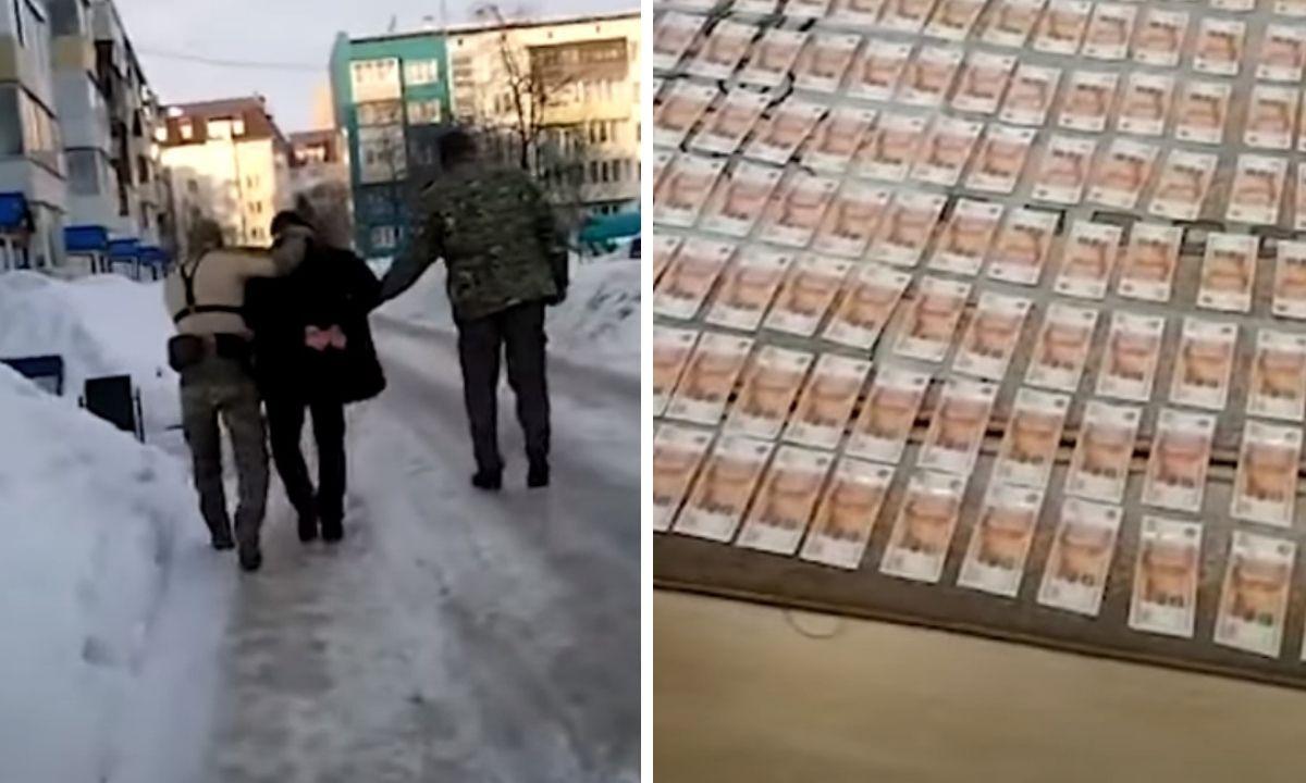 Деньги лежат на полу, а мужчину на улице задержали следователи