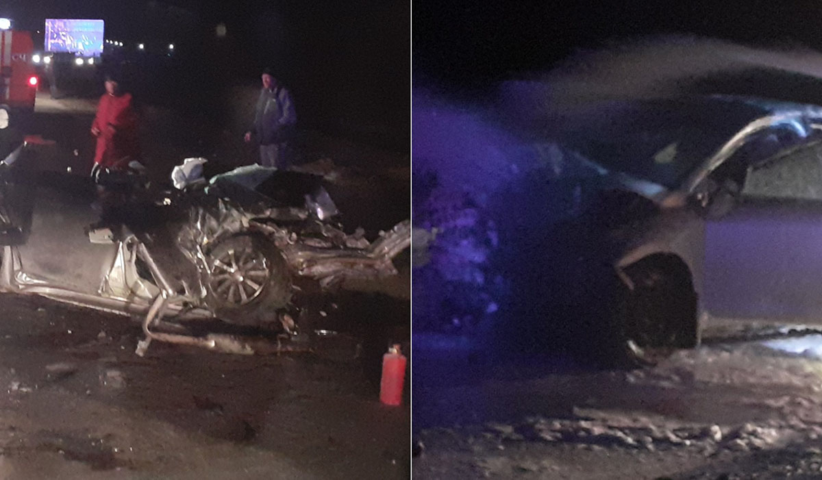 Разбитые машины на дороге