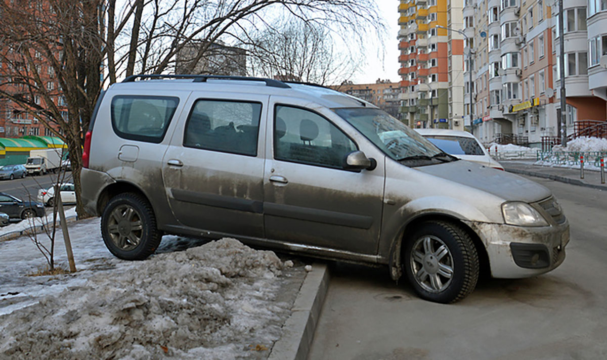 Автомобиль припаркован на газоне