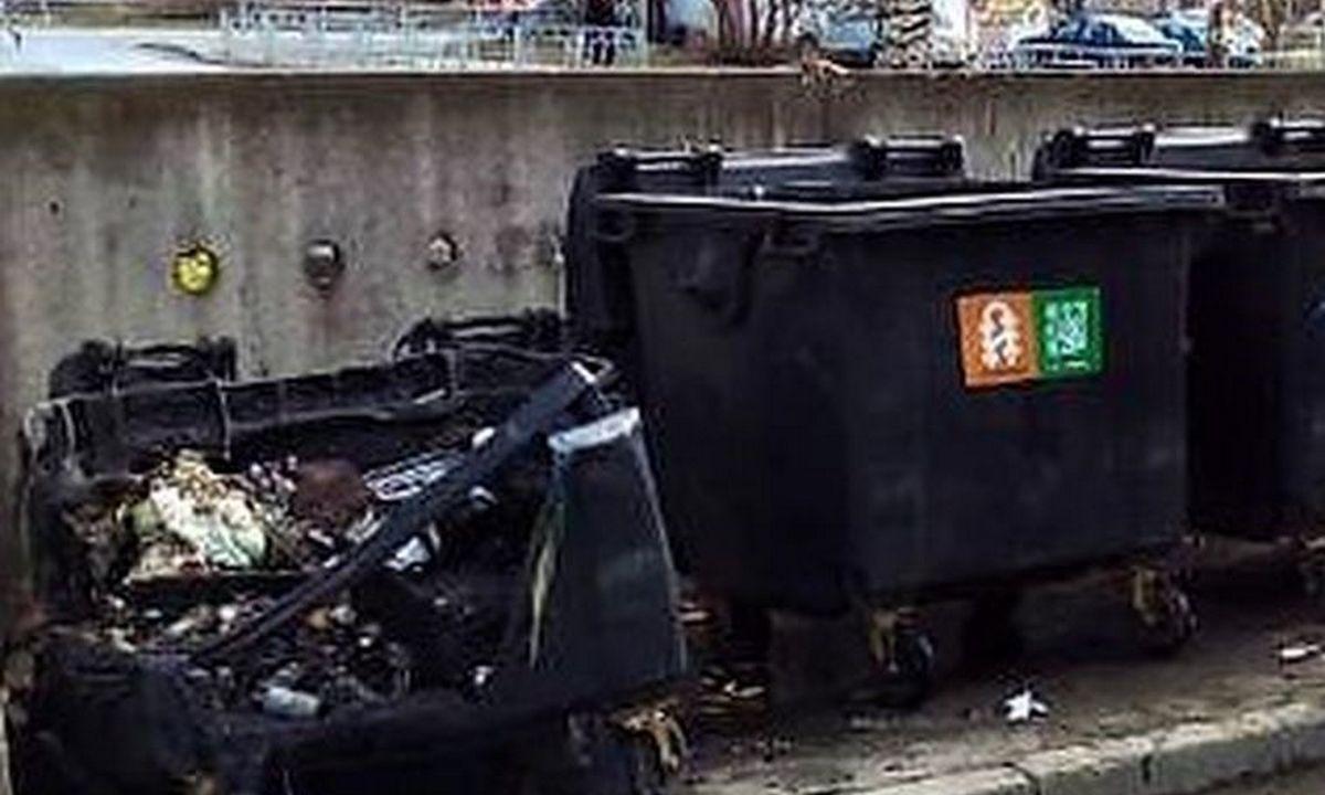 мусорный бак подожгли