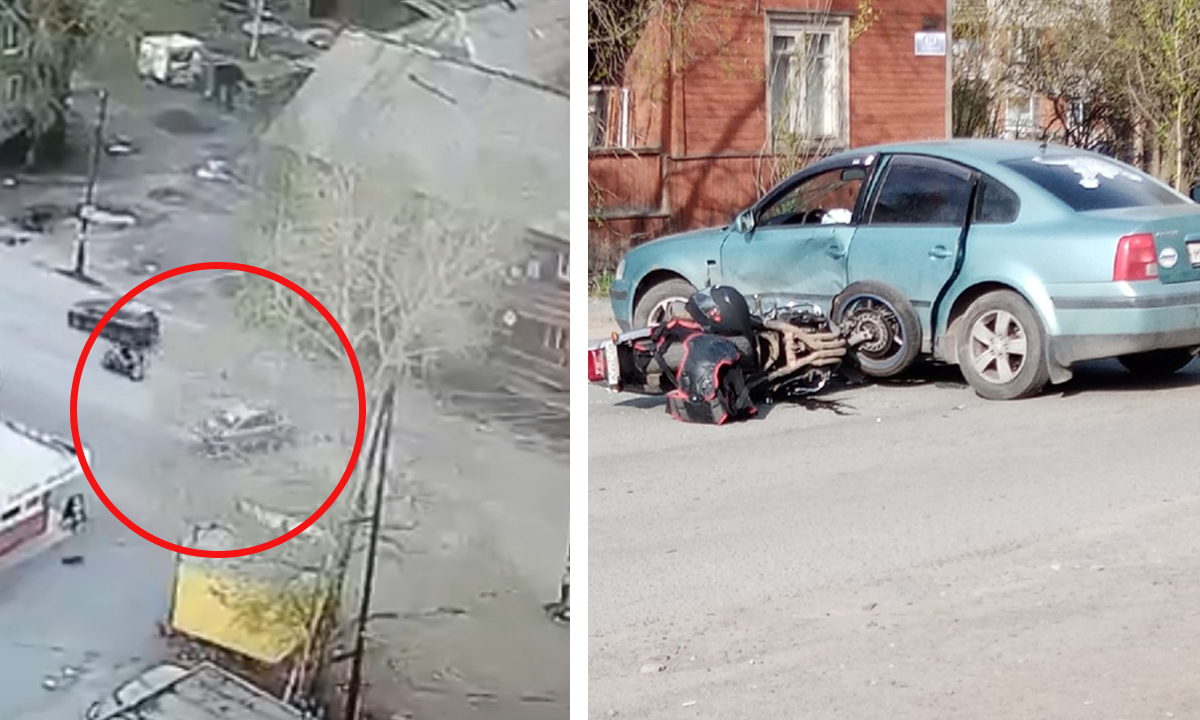 В Петрозаводске произошло жесткое ДТП с мотоциклистом