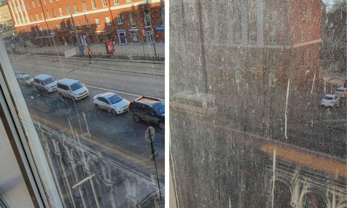 Подрядчик оставил грязные окна после покраски фасадов