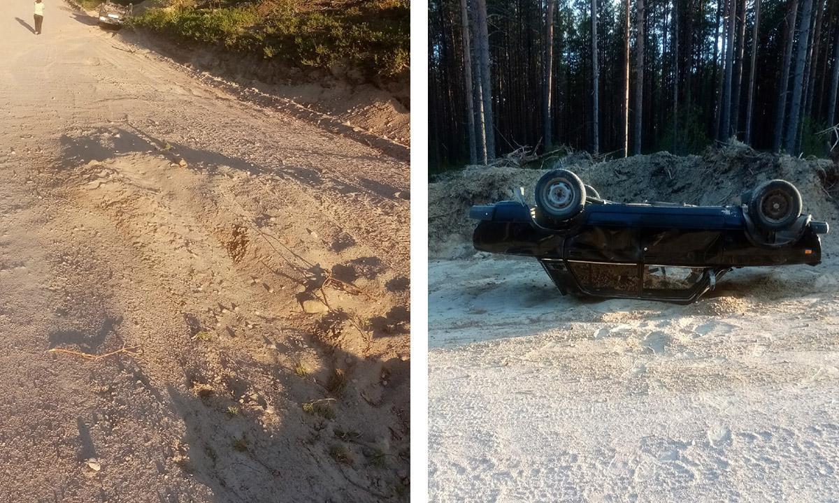 В Карелии автомобиль перевернулся на крышу, попав в яму