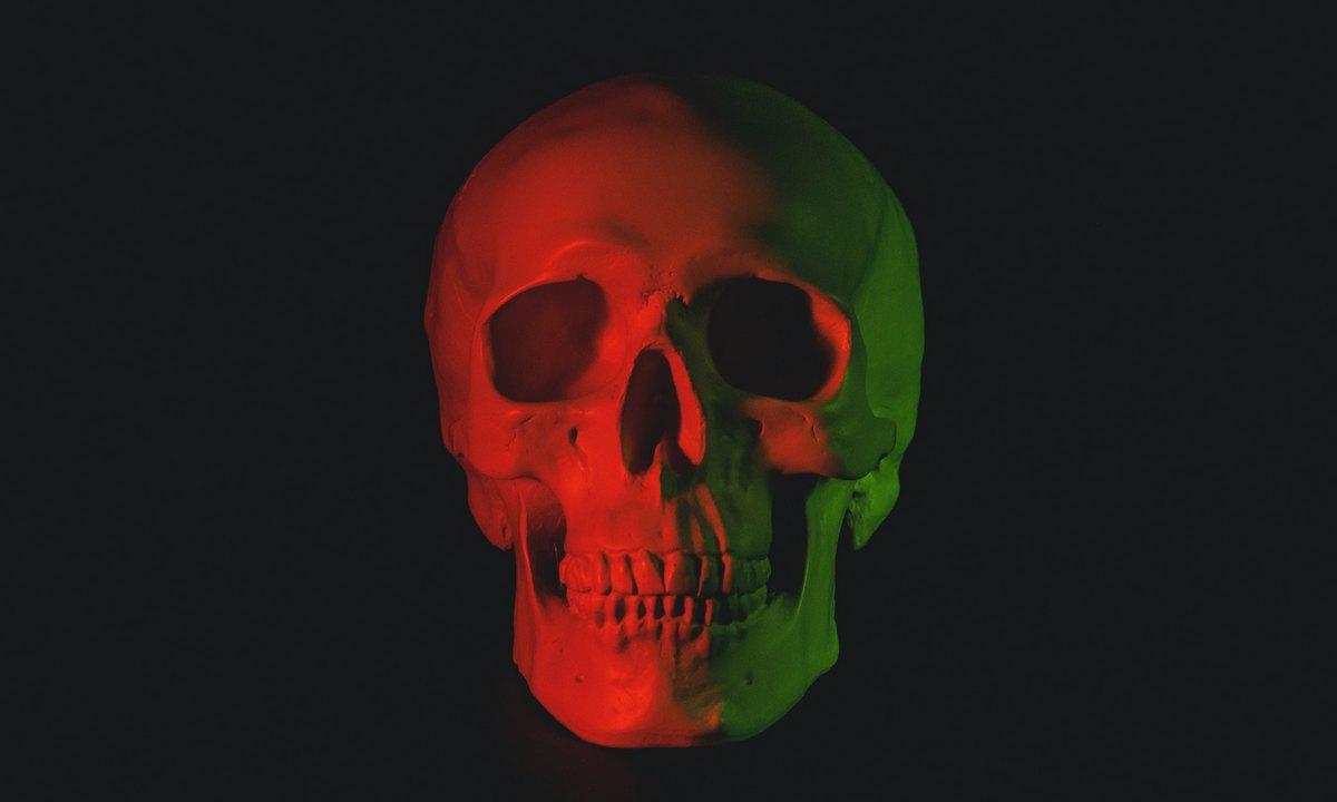 мертвый, человек, череп