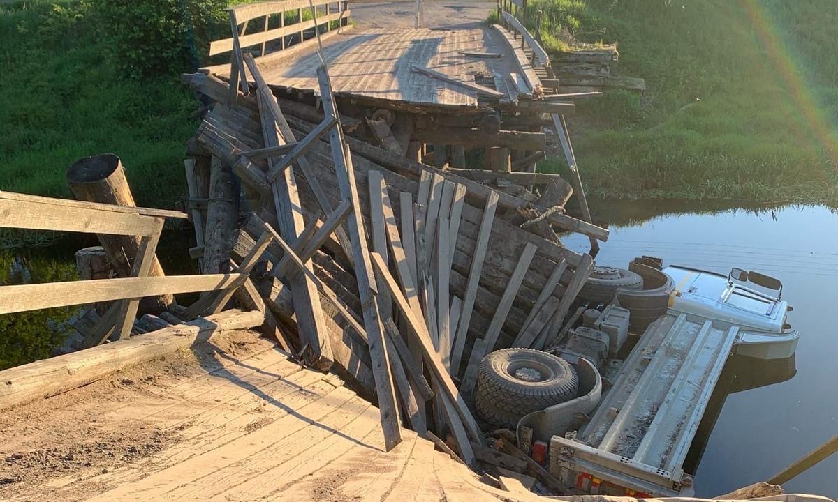 мост рухнул в Карелии