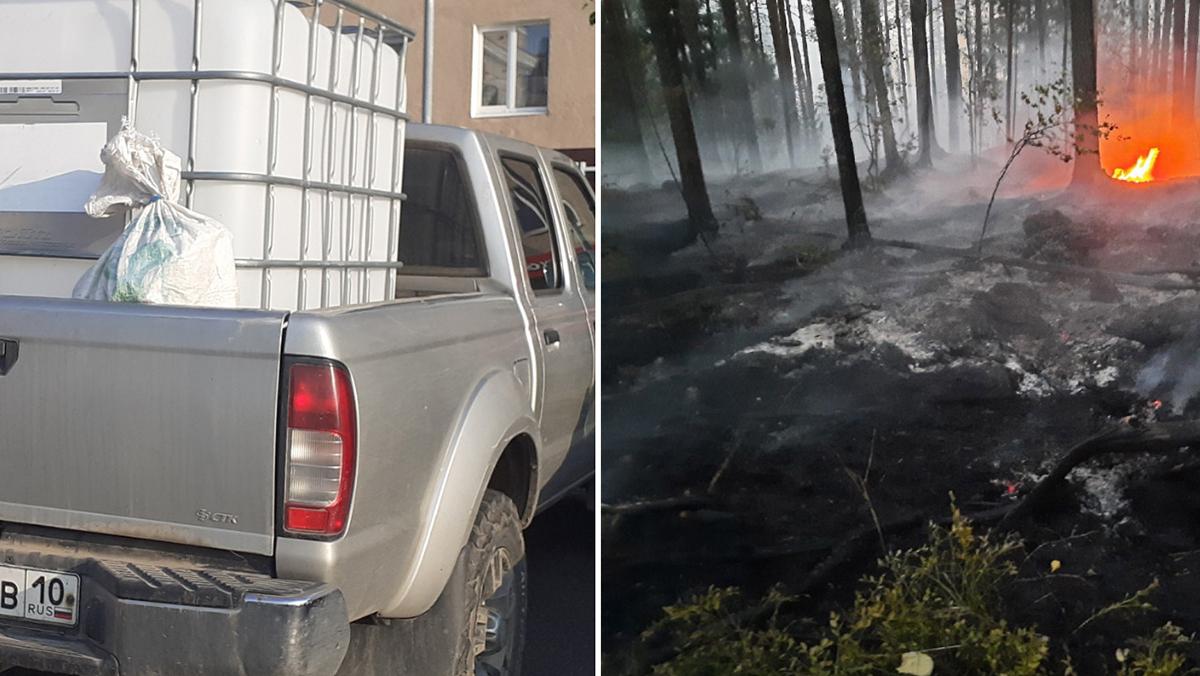 Машина и огонь в лесу