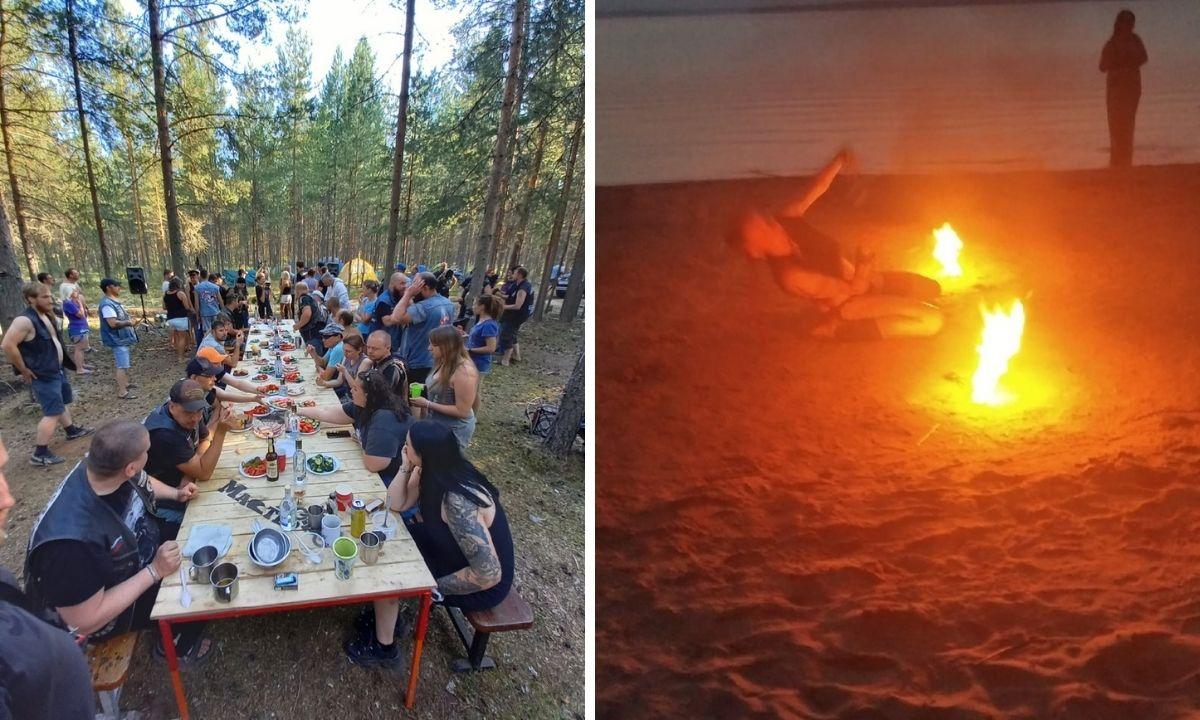 байкеры устроили вечеринку в лесу в Карелии