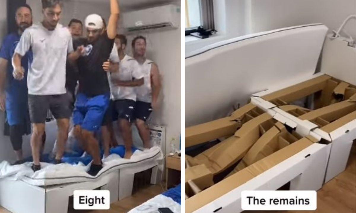 кровать, сломали, олимпийцы