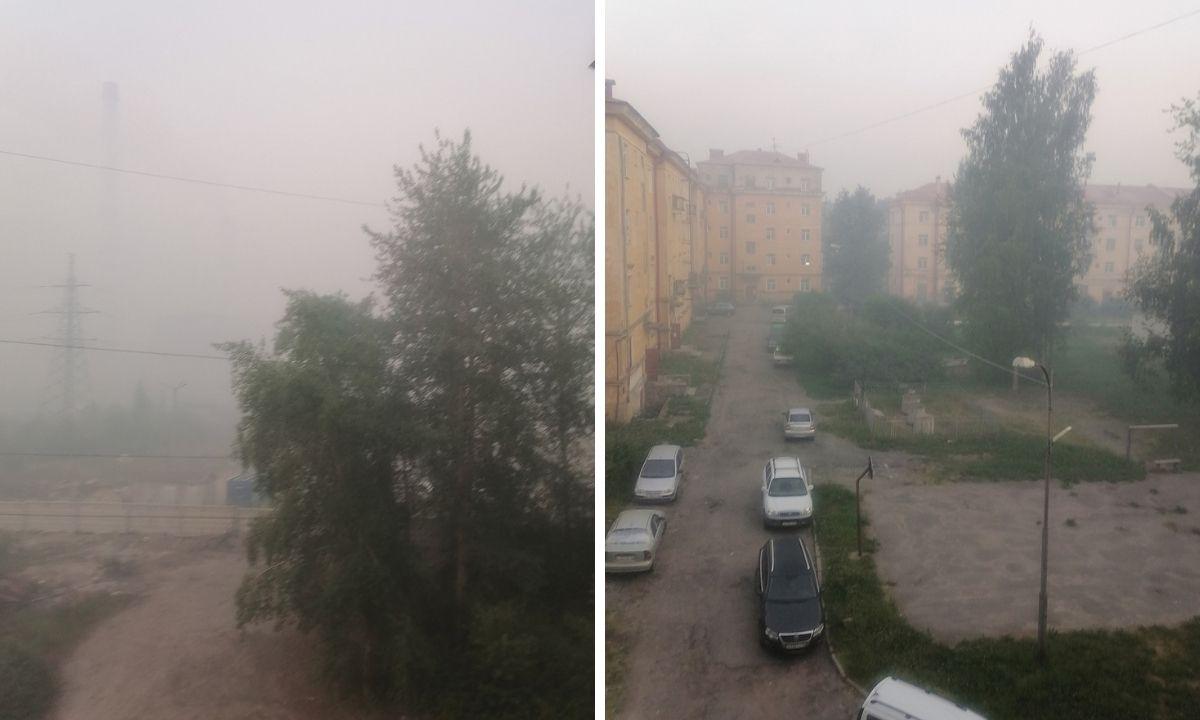 дым от лесных пожаров в Сегеже
