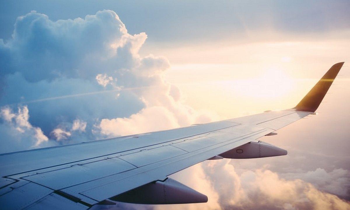 самолет, крыло, небо