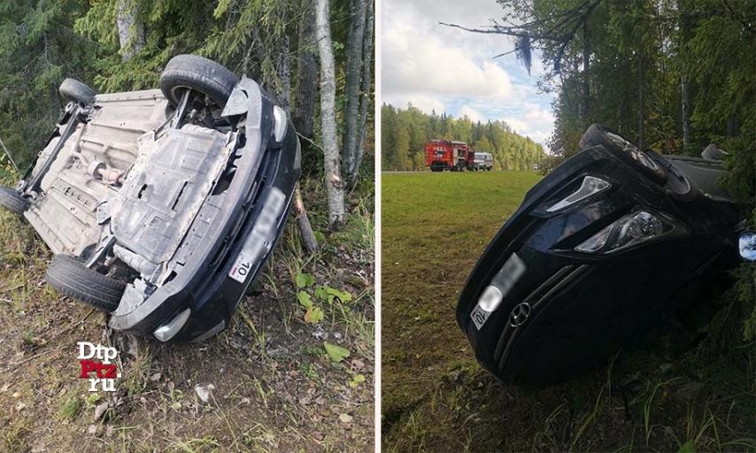 машина опрокинулась на трассе