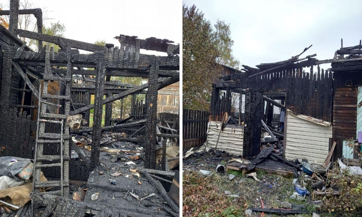 дом сгорел
