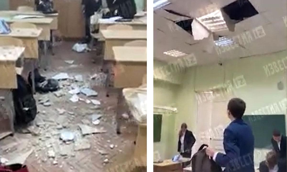 В школе обрушился потолок сразу после праздничной линейки