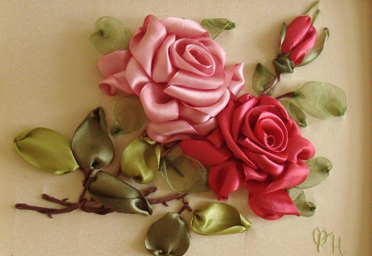 Вышивка лентами цветы и зелень своими руками
